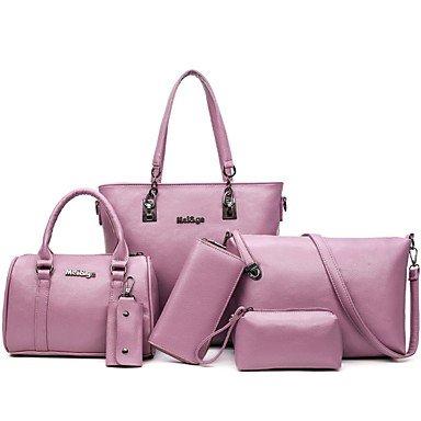 Borsa Donna imposta pu tutte le stagioni Casual Lampo arrossendo grigio nero rosa bianco,grigio Gray