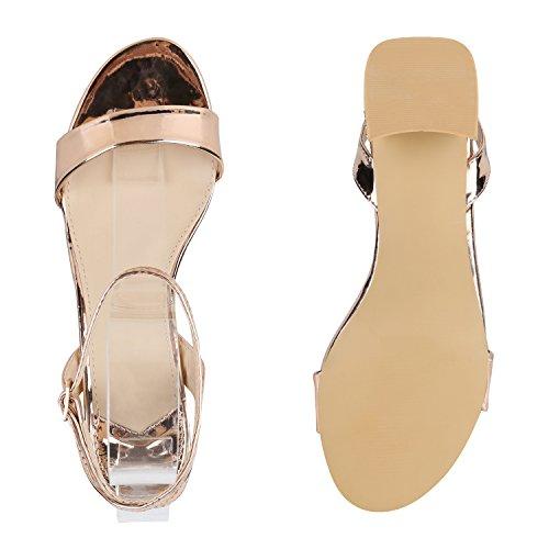 Damen Metallic Sandaletten Blockabsatz Schuhe Sommerschuhe Rose Gold