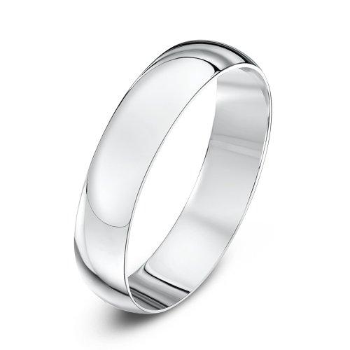 Theia Unisex Heavy D Shape Polished Platinum Wedding Ring IRUpIKxUw
