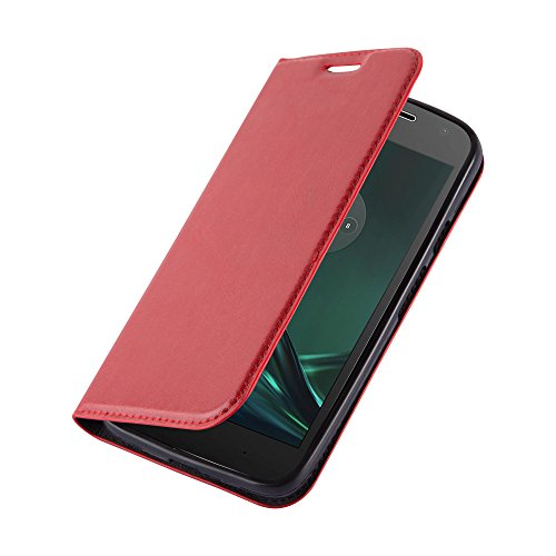 Cadorabo Hülle für Motorola Moto G4 Play - Hülle in Apfel ROT – Handyhülle mit Magnetverschluss, Standfunktion und Kartenfach - Case Cover Schutzhülle Etui Tasche Book Klapp Style