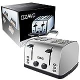 OZAVO Toaster 4 Scheiben, Brötchenaufsatz, 7 Bräunungsstufen, Zentrierfunktion, mit Abnehmbarer Krümelschublade, Edelstahlgehäuse, 1500W - 7