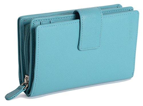 SADDLER Damen Geldboerse 14 cm mit hohem Volumen & viel Stauraum Reissverschluss Banknotenfach Laschen-Verschluss - Blaugrünes Blau -