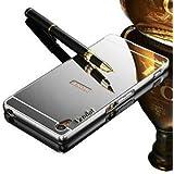 Vandot Caso Funda Carcasa para Sony Xperia Z2, Lujo Ultrafino del Metal de Aluminio Espejo Efecto PC Bumper Hardcase Shell Cover - Plata