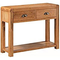 Oakville sólido roble medio mesa de salón–Roble macizo mesa consola con 2cajones–Acabado: roble rústico con balda–pasillo–Comedor–muebles de salón