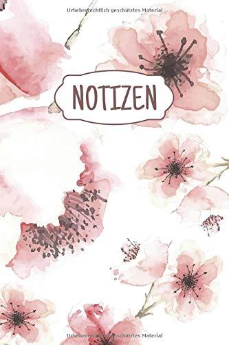 Notizen: Liniertes Notizbuch für alle Notizen, Termine, Skizzen, Zeichnungen, Tagebuch oder Kalender; breites Linienraster; Motiv: Blumen Aquarell Kirschblüten Kirschbaum Blüte