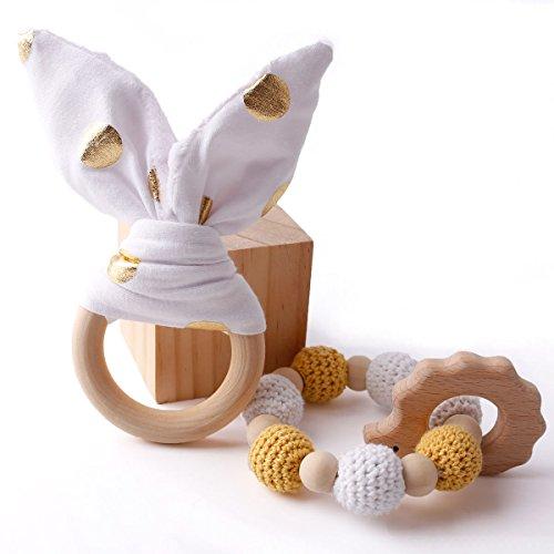 baby tete Baby Teether Armband 2Pcs gehäkelte Perlen Safe hölzerne Baby & Kleinkind Spielzeug Zahnen Spielzeug Krankenpflege Baby Geschenk Teether Spielzeug