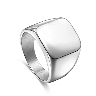 YUUHII ATR Men's Polished Stainless Steel Biker Plain Square Signet Classic Punk Rings Band, Silver,Size 7-15#