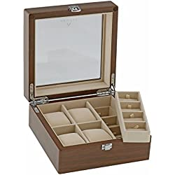 Natural Walnut Watch and Cufflink Collectors Box for 4 Wrist Watches plus 8 Pairs Cufflink by Aevitas