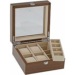 Aevitas Sammlerbox, für 4 Armbanduhren und 8 Manschettenknöpfe, Walnuss