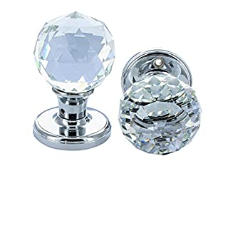G Decor Pair of Solid Round Crystal Cut Faceted Clear Glass Mortice Door Knobs 60mm Chrome Finish (Door Knobs)