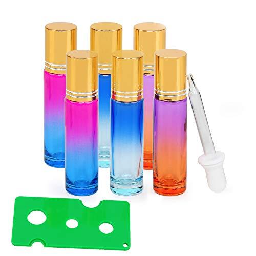 Roll On Glasflaschen für ätherisches Öl, Glasroller Nachfüllbarer Behälter für ätherische Öle, Aromatherapie, Duftstoff, Glasaufsatz 10ml, ideal für Zuhause und Reisen (Gradient 6 Stück)