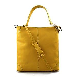 Damen tasche handtasche ledertasche damen ledertasche schultertasche leder tasche henkeltasche umhängetasche gelb made in italy