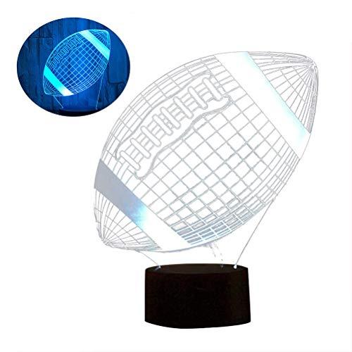 Uonlytech lampada da tavolo in acrilico 3d led luce colorata lampada da tavolo con cambio tattile lampada da illusione 3d lampada da tavolo luminosa per ragazzo ragazzi (calcio)