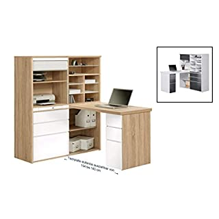 MAJA Möbel Minioffice, Holzdekor, Sonoma-Eiche - Weiß Hochglanz, 126,60 x 187,00 x 150,00 cm