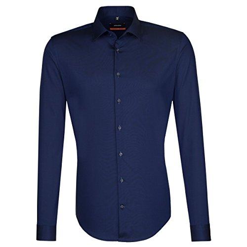 Seidensticker slim bügelfrei stretch camicia business, blu (dunkelblau 19), 42 uomo