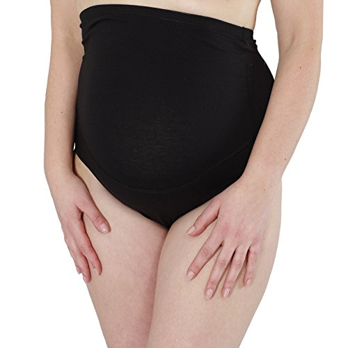 Umstandsmode von Herzmutter - Umstandsslip-Schwangerschaftsslip-Überbauchslip für Damen, im Einzelpack-Doppel-Dreierpack-Set, aus Baumwolle-Modal, in Schwarz und Beige (5100) 3X Schwarz
