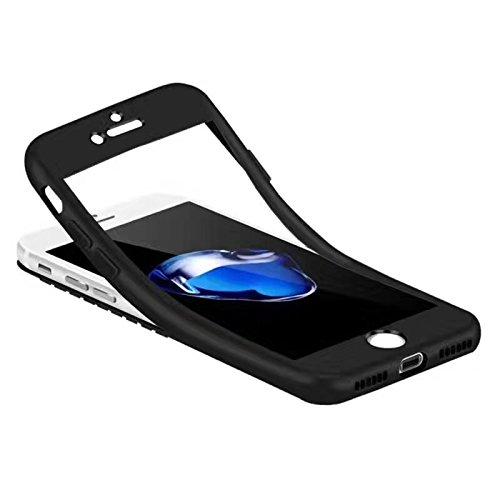 Cover iPhone 6/6s 360 Gradi Morbido Full Body Ultra Sottile TPU Antiscivolo Protettiva Custodia Case DECHYI (4.7 - Bianco+Rosa) Nero
