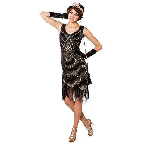 Kostüm 20er Jahre Deluxe, Gr S/M, Kleid gold/schwarz Paillettenkleid mit (Zwanziger Jahre Kostüm)