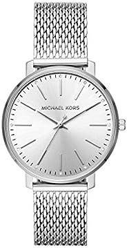 ساعة انالوج ماركة بيبر بمينا باللون الفضي وسوار من الستانلس ستيل للنساء من مايكل كورس - MK4338