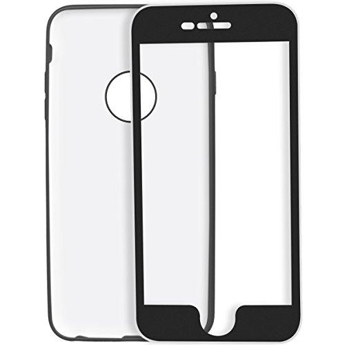 Yokata Cover per iPhone 7 Plus Case 360 Gradi Full Body Protezione Gel Silicone TPU Fronte con Backcover Protective Custodia Elegant Ultra Sottile Fine Piuma Facile Caso Bumper Shell per iPhone 7 Plus Nero