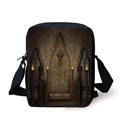 Gothic,Fantasy Scene with Old Fashioned Wooden Torch and Skull Candlesticks in Dark Spooky Room,Brown Print Kids Crossbody Messenger Bag Purse - Torch-deck