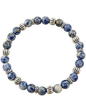 Sunsara Traumsteinshop Edelstein Sternzeichen Armband - Schütze, Sodalith (hell) , mit silberfarbenen Tibet Perlen...