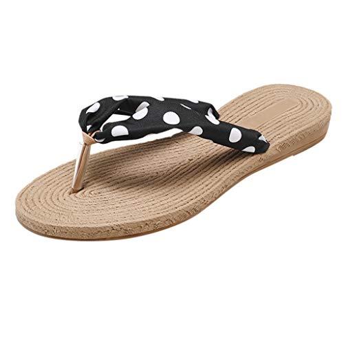 SHE.White Damen Sandalen,Damen Sommer Zapfen Flip flops Strand beiläufige Hefterzufuhr Schuhe Toe Separator Dots Blumen Sommerschuhe Dot Keil