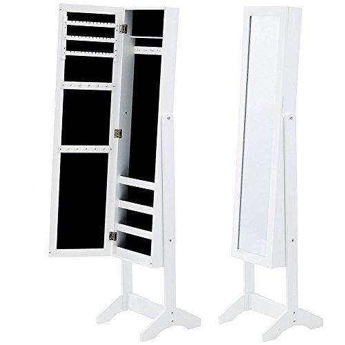 Bakaji specchiera portagioie armadietto portagioielli specchio con anta porta oggetti colore bianco, armadio organizer porta gioielli (angelica)