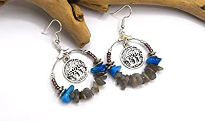 Créoles argent Abre de vie chips de pierres 30 mm - Boucles d'oreilles boho anneau argent - Créoles pierre naturelles
