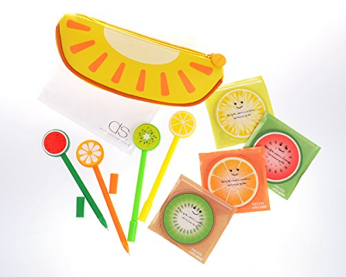 DSstyles Set of 9 Fruit Shaped Cute Design Stationery Set with Pencil Case Bag Gel Ink Pens Sticky Notes for School, Office and Family Use - Set C