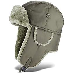 Black Snake Pilotenmütze | Fliegermütze | Pelzmütze | warme Wintermütze mit Ohrenklappen - Oliv - XXL