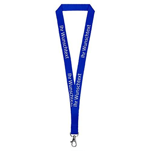 100er Set Schlüsselbänder in 20mm mit Ihrem eigenem Logo, Schriftzug oder Bild als Druck - Polyester Lanyard mit Standardverschluss zum personalisieren für Partys, Feiern, Messen oder Ausstellungen