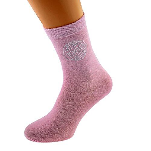 Limited Edition 1988 30th Birthday Ladies Pink Socks UK 4-8 EUR 37-41 - X6N250-1988