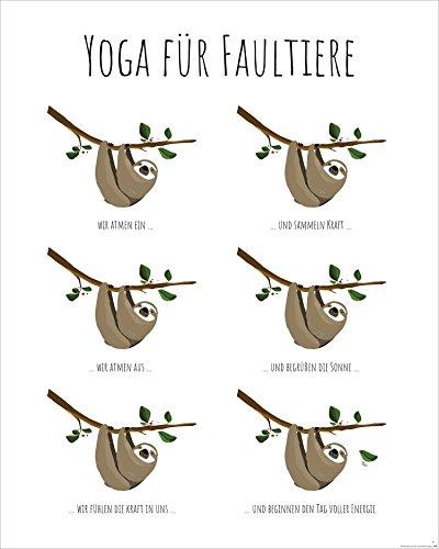 faultier poster Close Up Yoga für Faultiere - Kunstdruck Janette, Poster - Premium Qualität 170g/m (40 x 50 cm)