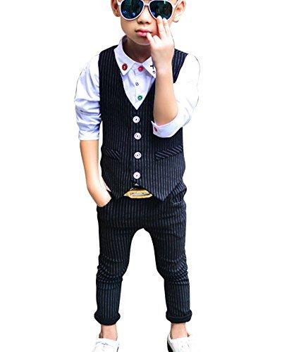 DianShao Jungen Elegant Streifen Weste 2 Stück Formal Anzug Kinder Kleidung Sets Schwarz 120