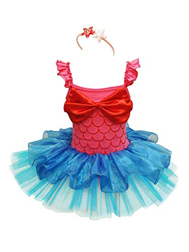 Tiaobug Mädchen Kostüm Meerjungfrau Karneval Verkleidung Party Faschungskostüm Kleid+Haarreif Tutu Rock Pink+Blau 110-116/5-6 Jahre