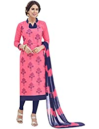 EthnicJunction Women's Cotton Jacquard Straight Fit Unstitched Dress Material (EJ1125-45_Pink)