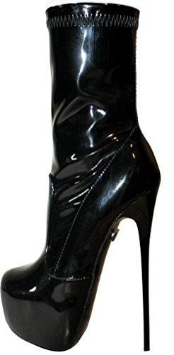 Erogance Stretch-Lack Plateau High Heels Stiefeletten A5738/EU 43 (Ziehen Stretch Stiefel Sie)
