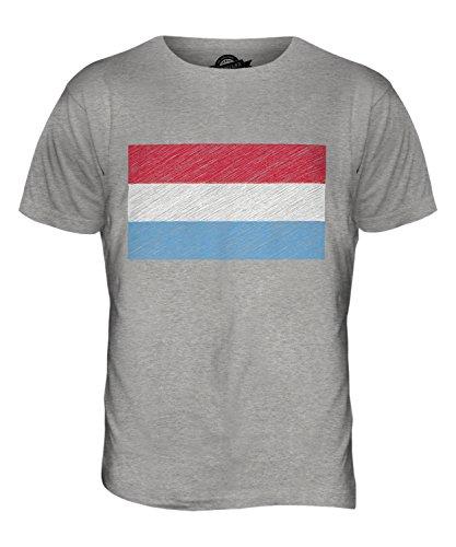 CandyMix Lussemburgo Bandiera Scarabocchio T-Shirt da Uomo Maglietta Marne Grigio