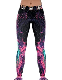 Lovelife' Women Galaxy Aurora Digital Printed Yoga Workout Capri Leggings