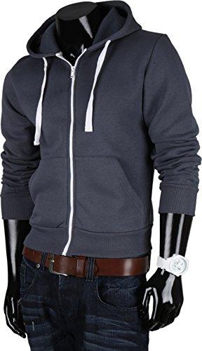 HILL vAN pull à capuche zippé à capuche pour homme Gris - Anthracite