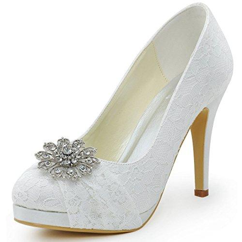 ElegantPark HC1413P bout Rond Dentelle Fleurs Boucle A Plateau Pompes Femmes Chaussures de Mariee Mariage Ivoire