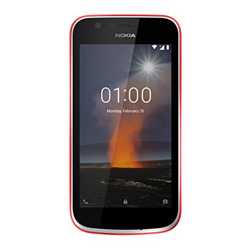 Nokia 1 Smartphone (4,5 Zoll IPS-Display, 5MP Hauptkamera, 2MP Frontkamera, LTE, Android 8.1 Oreo (GO Edition), 8GB int. Speicher, Dual Sim) warmes rot