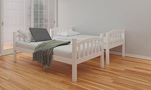 Happy Beds American Solid White Wooden Bunk Bed 2x Memory Foam Mattress Bedroom