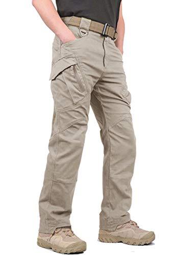 KEFIETVD Herren Baumwolle Hose Mehrfach Taschen Freizeit Hose Sommer Arbeit Outdoor Funktionshose Army Combat US Ranger Hose Regular Fit Sommerhose Khaki 52/L (Etikett: 2XL) -