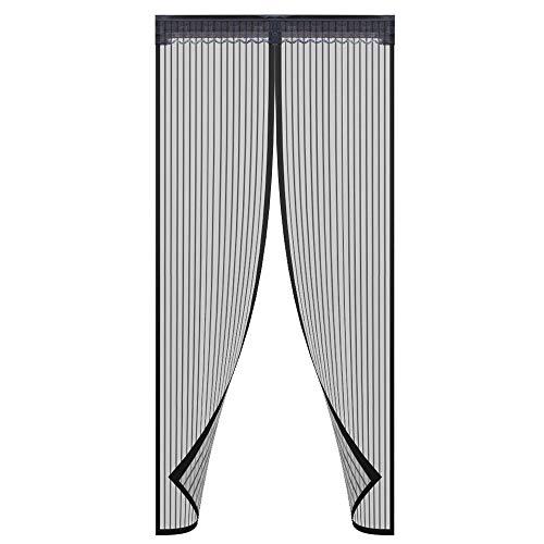 Magnetische Tür, passend für Türgrößen bis 86,4-202,9 cm, strapazierfähiges Netzgewebe, Vorhangnetz aus weichem Garn -