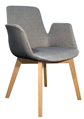 Meubletmoi Fauteuil tapissé en Tissu, piètement en Bois, Design & Haute qualité - Collection Loow (Gris Anthracite)