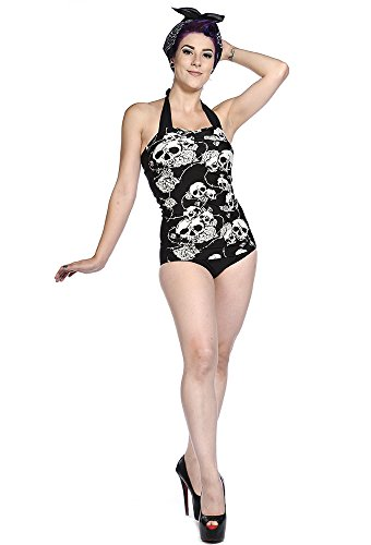 Banned - Rockabilly Neck Holder costume da bagno - Rose e teschio Tattoo anni 50 Retro Swimsuit Schwarz/Weiß XS