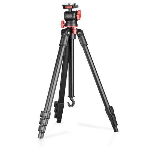 Walimex Reisestativ Basic inkl. Wasserwaage für SLR-Kamera (aus Aluminium, Belastbarkeit 3kg)