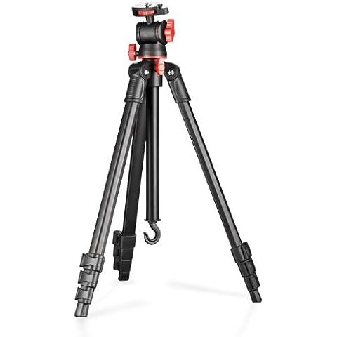 Walimex Basic - Trípode de viaje (para cámaras réflex), negro y rojo